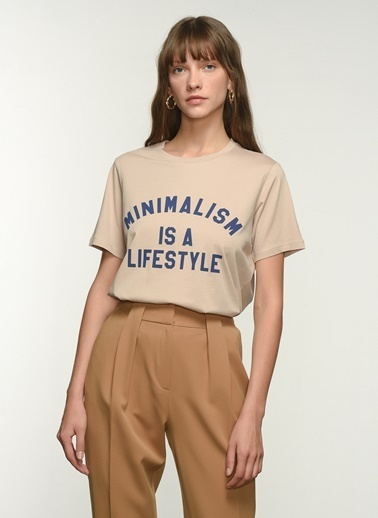 NGSTYLE Kadın Baskılı  Tişört NGKSS21TS0022 Taş